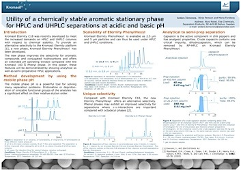 cover image for Utility of a chemically stable aromatic stationary phase for HPLC and UHPLC separations at acidic and basic pH