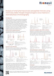 cover image for Analysis of small pharmaceuticals and peptide mixtures using chemically stable merged inorganic/organic silica material in reversed phase chromatography