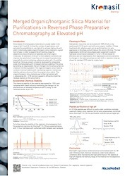 cover image for Merged Organic/Inorganic Silica Material for Purifications in Reversed Phase Preparative Chromatography at Elevated pH
